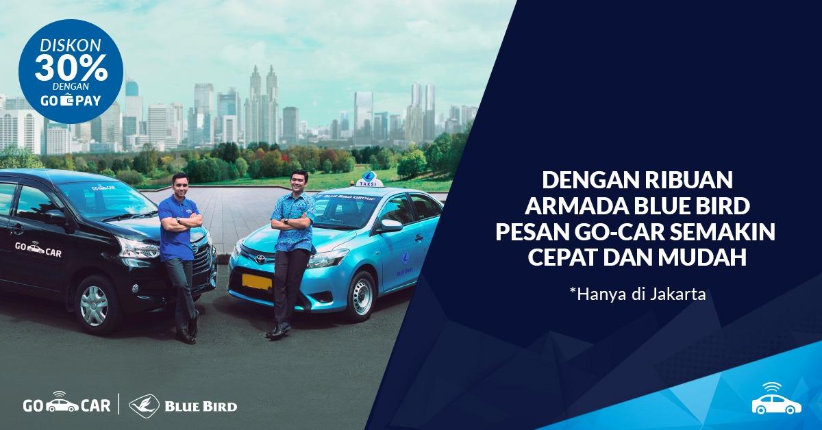 Pesan GO-CAR Kini Bisa Dapat Armada Blue Bird!